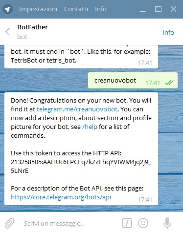 crea nuovo bot telegram
