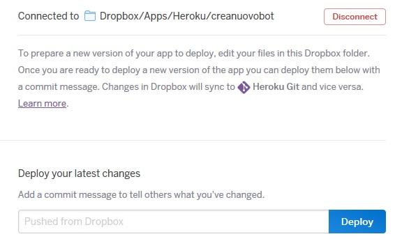deploy su heroku da dropbox