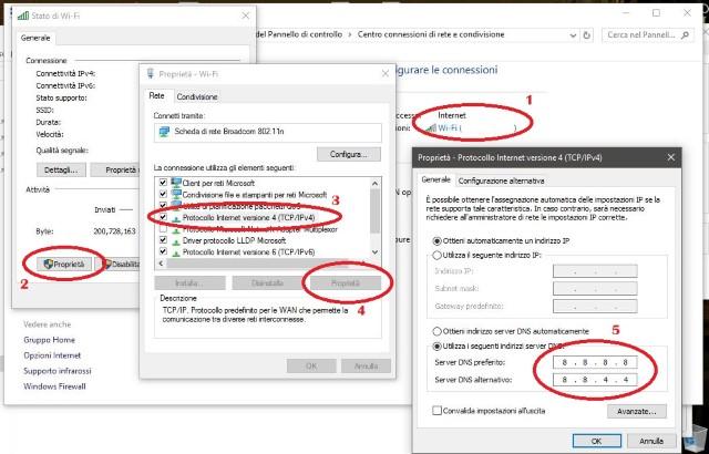Impostare DNS di Google su Windows 10
